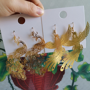 Chinese Style Personality Exaggeration Metal Peacock Phoenix Dangle Earrings Fashion Simple Girl Women Jewelry Accessories