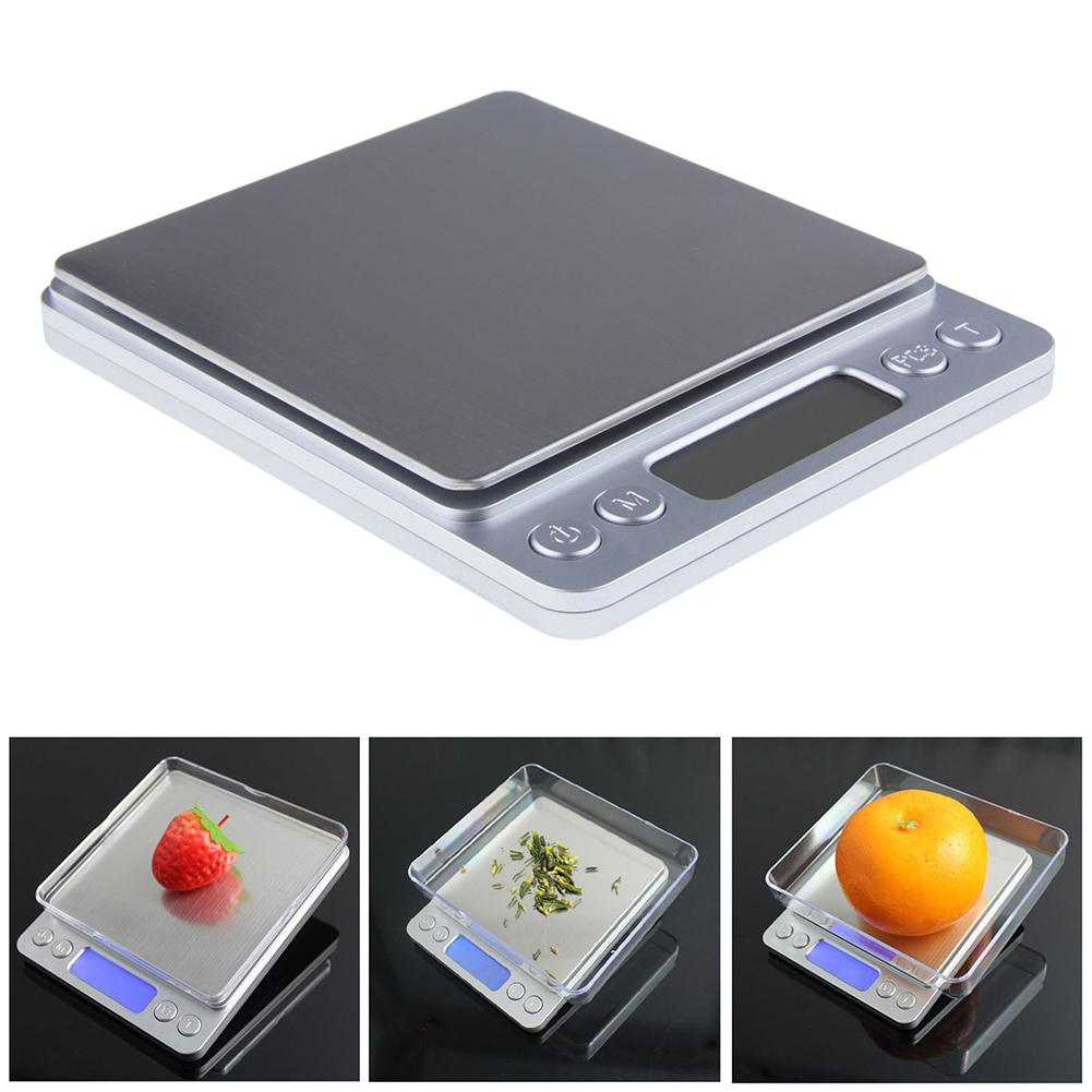 3kg/0.1g 500g/0.01g High Precision Stainless Steel Digital LCD Jewelry Food Electronic Scales Home Kitchen Measuring Tools