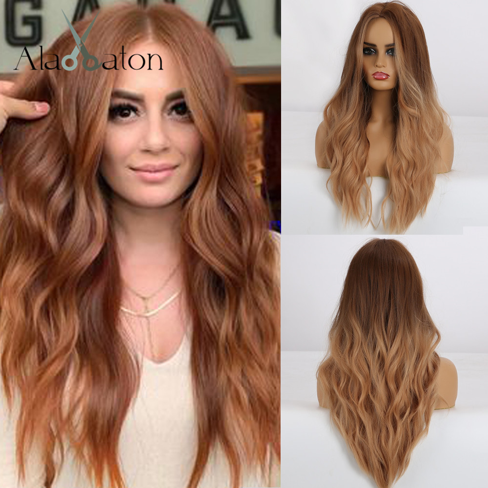 ALAN EATON Synthetic Hair Wigs Middle Part Long Natural Wave Ombre Brown Red Wig For Black Women Heat Resistant Fiber Cosplay
