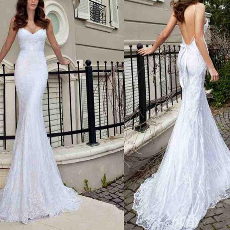New 2016 V-Neck Sash Sexy Appliques Backless Lace Mermaid Wedding Dresses Bridal Gowns Bead Spaghetti Strap Wedding Dresses 2014