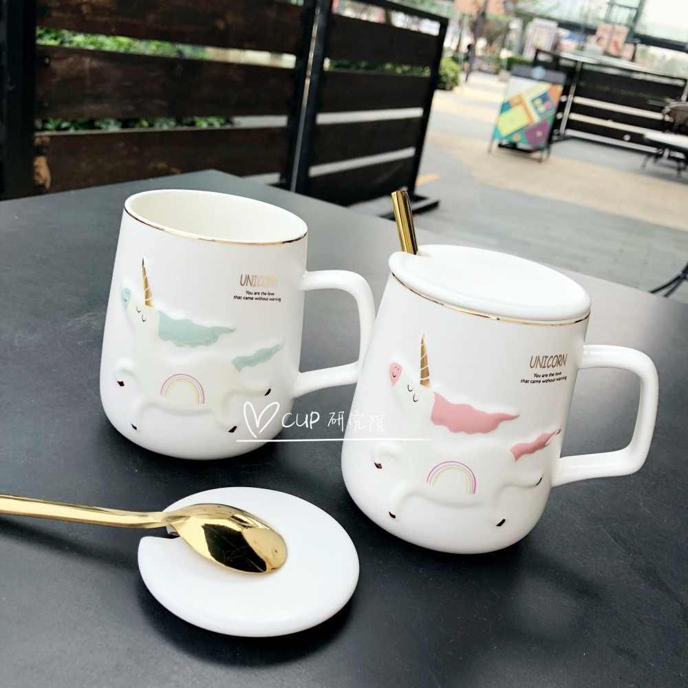 Lucu Kartun Unicorn Keramik Cangkir Air dengan Sendok Emas Hot Sale Putih Mug Kopi Yang Indah Gadis Hadiah Gratis Pengiriman