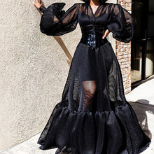 Черное платье из 2 предметов, Сетчатое Прозрачное платье с v-образным вырезом, с рукавами, для женщин, с бретельками, облегающее платье, прозрачный комплект из двух предметов