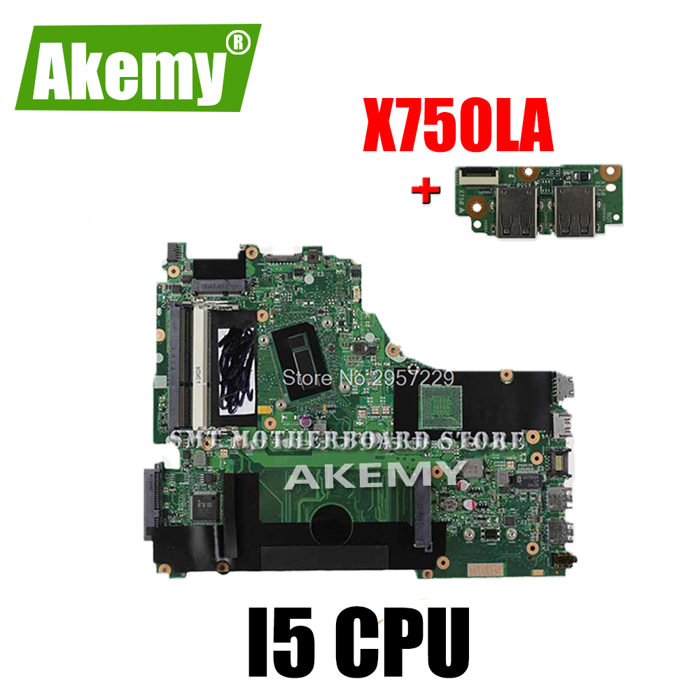 send board+X750LA Motherboard I5 CPU For <font><b>ASUS</b></font> <font><b>X750LB</b></font> X750LN X750lA X750l Laptop motherboard X750LA Mainboard X750LA Motherboard image