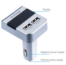 2 1A Dual USB Car Charger 2 Port LCD Display 12-24V Cigarette Socket Lighter Fast Car Charger Power Adapter Car Styling Silver cheap Cigarette Lighter 0 35kg 2019