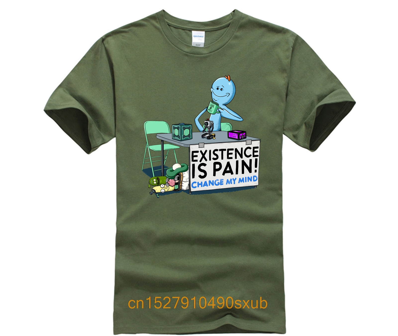 Hot men's fun casual print T-shirt EXISTENCE IS PAIN CHANGE MY MIND T Shirt
