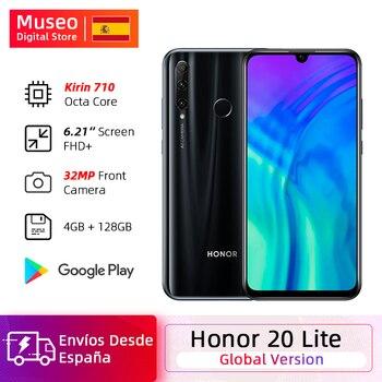Перейти на Алиэкспресс и купить Глобальная версия смартфона Honor 20 Lite, 4 Гб, 128 ГБ, передний экран 32 МП, Восьмиядерный процессор Kirin 710, Android 9,0, камера заднего вида 24 МП