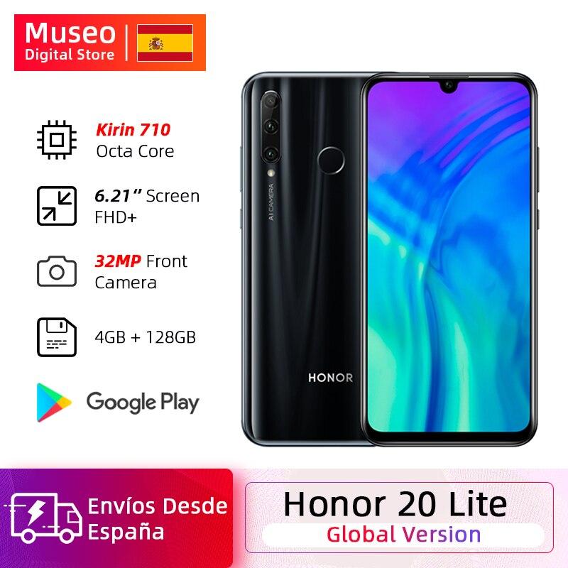 Versão global honra 20 lite smartphone 4gb 128gb frente 32mp kirin 710 octa núcleo android 9.0 face id 24mp câmera traseira