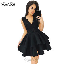 Real Rill Sexy V Neck Lace Up Back Mini Homecoming Dresses 2019 Short Cocktail Dress Satin Little Black