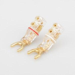 Image 4 - 2 pcs Gold/Rhodium plated Y Spade banana connectoren gekartelde zaagtand Speaker Stekkers HiFi Audio Schroef Vork Connector adapter