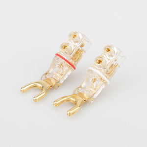 Image 4 - 2pcs Gold /Rhodium plated Y Spade Banana plug connectors jagged sawtooth Speaker Plugs HiFi Audio Screw Fork Connector Adapter