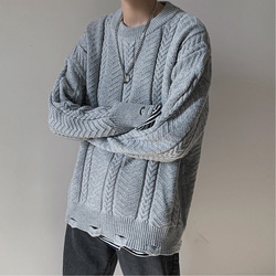 Hole Sweater Men Fashion Solid Color Casual O-neck Knit Pullover Men Streetwear Wild Loose Hip Hop Sweter Male Clothes M-2XL