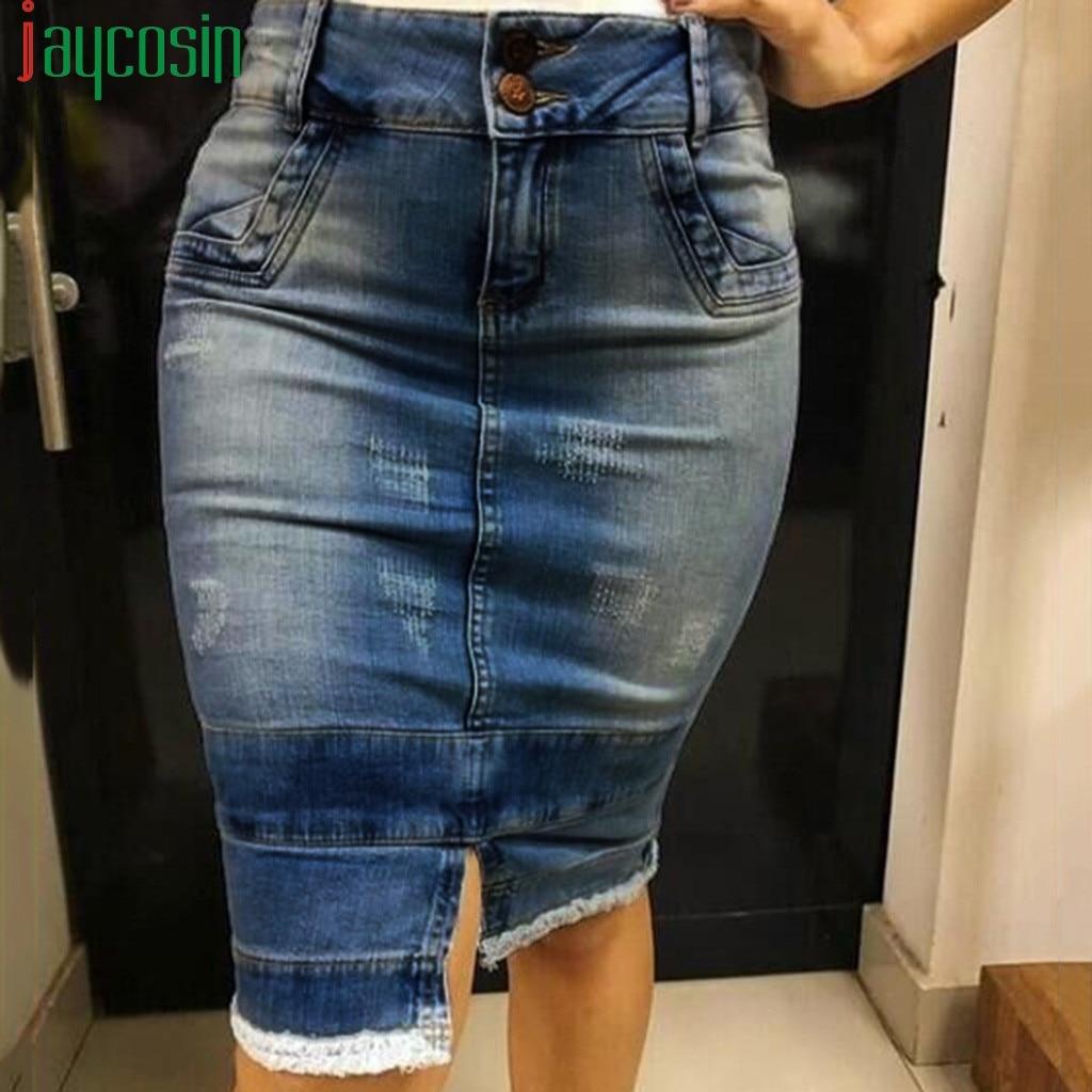 Women's Denim Skirt Cotton Slim Pocket Split Zipper Female Stretchy Waistline Skirt Casual Breathable Ladies Plus Size Skirt