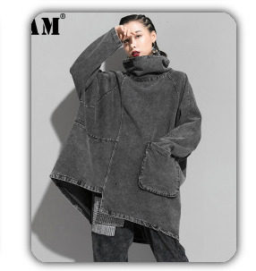 [EAM] 2019 New Winter Hooded Long Sleeve Solid Color Black Cotton-padded Warm Loose Big Size Jacket Women parkas Fashion JD12101 22