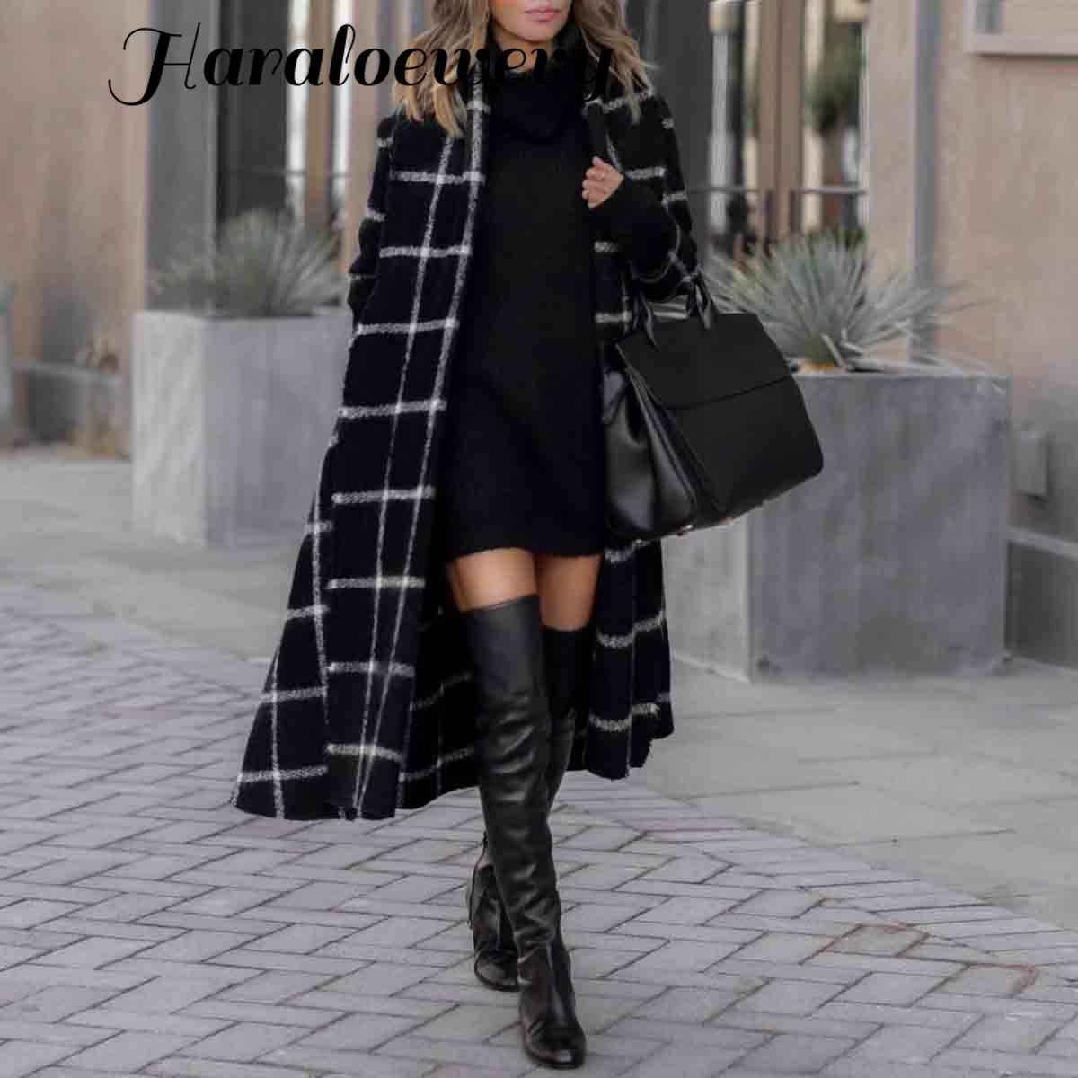 Vintage Zwarte Hooded Plaid Lange Trenchcoat Vrouwen Chic High Street Belted Windscherm Trench Lady Wollen Jas Winter