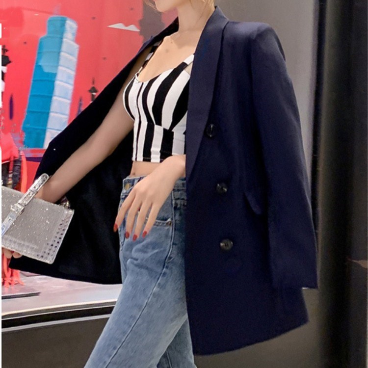 Fashion Women Double Breasted Solid Blazer Female Notched Collar Casual Jackets Pockets Spring Autumn Long Sleeve Thin Coat