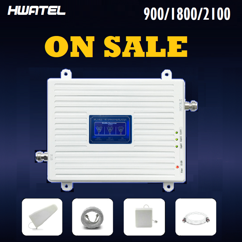 Gsm 3g 4g amplificador de sinal 900 1800 2100 2600 tri-band impulsionador 2g 3g 4g lte celular repetidor mimo antenas duplas