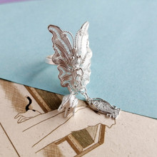 999 Sterling Silver Big Boho Ring Butterfly Women Rings Wedding Engagement Adjustable Ethnic Fish Dangle Handmade Luxury Jewelry