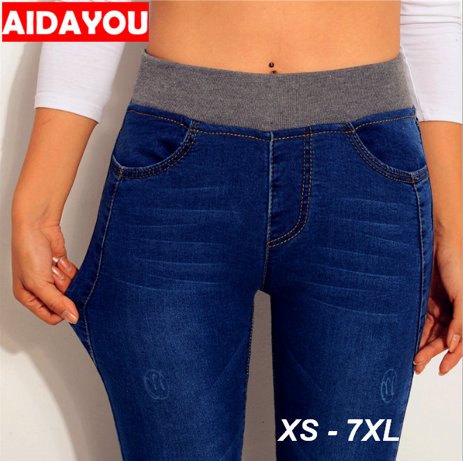 Plus Size Winter   Jeans   Women Elastic High Waist 6XL Winter Pants Casual Denim Stretch Trousers ouc549