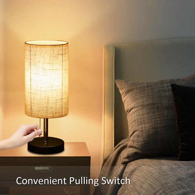 Bedside Table lamp Pulling Switch Desk Nightstand Lamp with 2 USB Charge Port Round Fabric Shade for Bedroom Living Room Office
