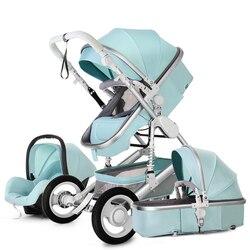 Pasgeboren Hoge Landschap Kinderwagen Kan Zitten Liggende Drieweg Fourwheel Schokdemper Folding Kinderwagen Babybassinet 0-3Y