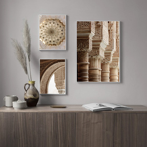 Image 3 - Islamic Architecture Poster Alhambra Hassan Mosque Wall Art Canvas Print Allah Muhammed Picture Painting Modern Home Decoration