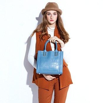 Fashion Large Capacity Casual Handbag Messenger Tote Bag Genuine Leather Crossbody Bag  Striped Female Shoulder Bags for Women