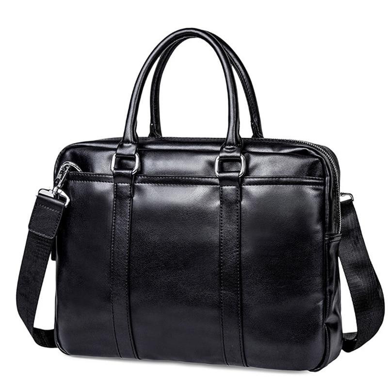 Fashion Simple Men Briefcase Leather Laptop Bag Casual Man Bags For Men Shoulder Bags Document Briefcases Totes Bag
