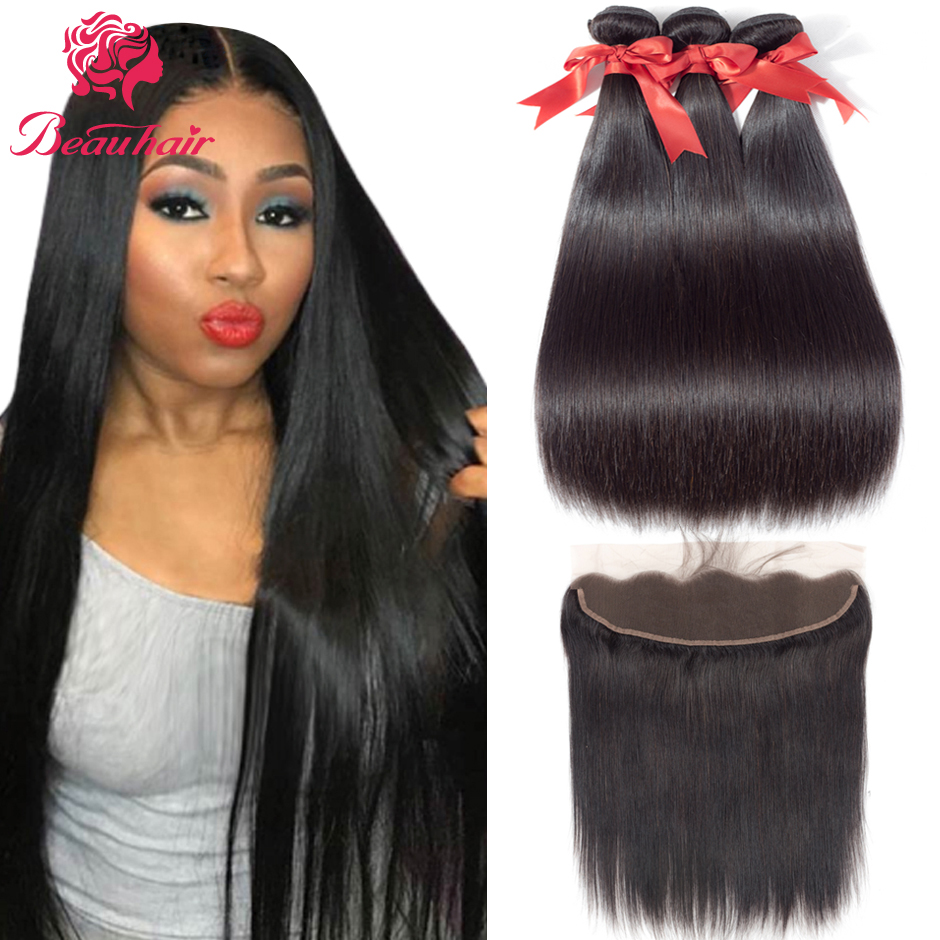 Brazilian Human Hair Weaves Straight Human Hair Bundles With Frontal 3 Bundles With 13X4 Lace Closure Pre-Plucked With Baby Hair