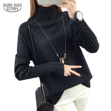 Truien Dames New Korean Turtleneck Solid Womens Sweater Casual Loose Pullover Jumper Knitted Women Pull Femme 5226 50