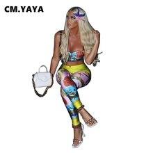 CM.YAYA-Conjunto de Pantalones estampados para mujer, sujetador con tirantes finos, Tops de vaina imperial elásticos, pantalones largos de tubo, conjunto de 2 piezas, traje de chándal