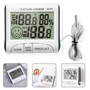 Digital LCD Display Indoor Outdoor Thermometer Hygrometer Humidity Wired Weather Station Temperature Sensor with Probe