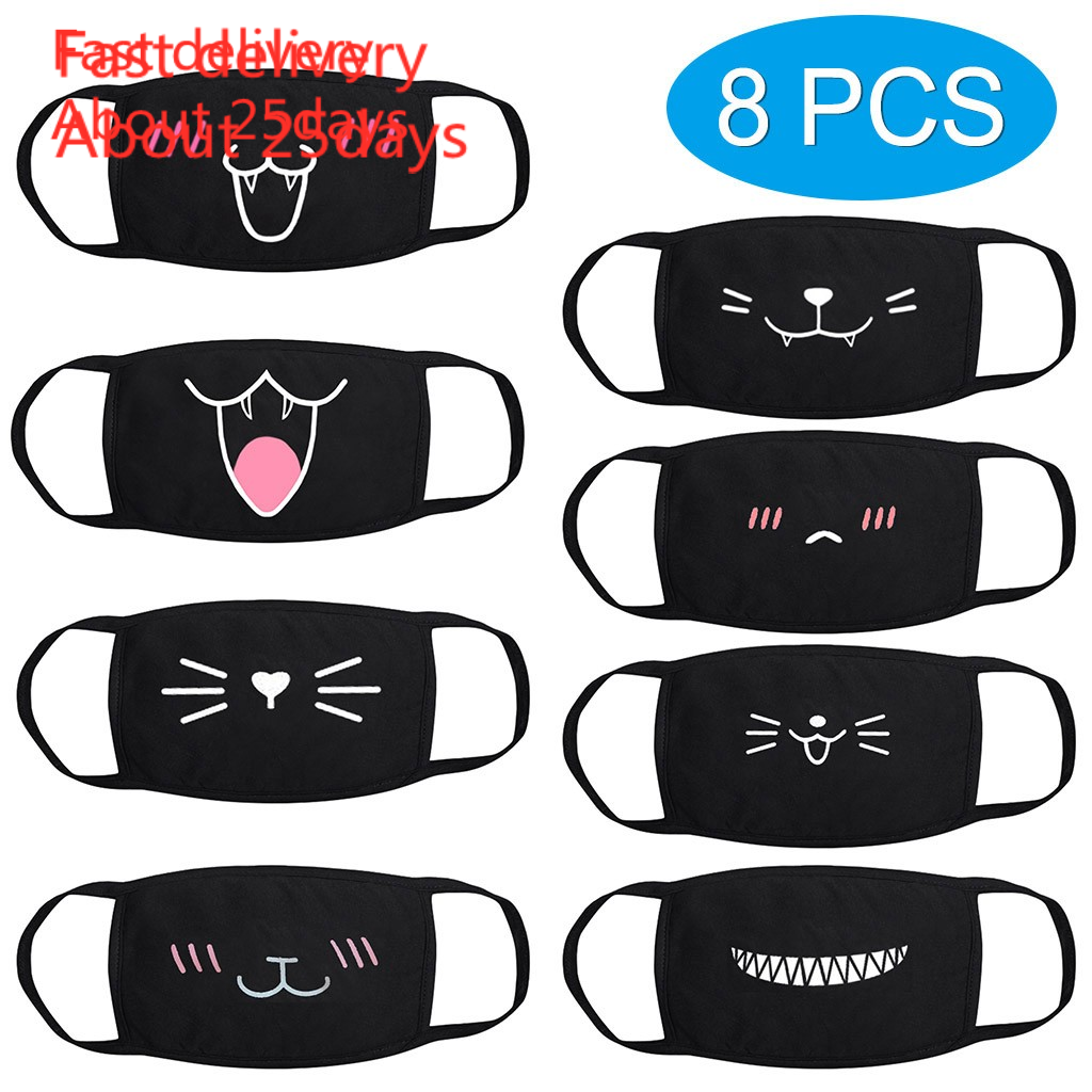 Face Mask 마스크  Mouth Mask Cute Print Black Cotton Thick Breathable Coldproof Dust Mask Set 8pcs Fast Delivery In Stock