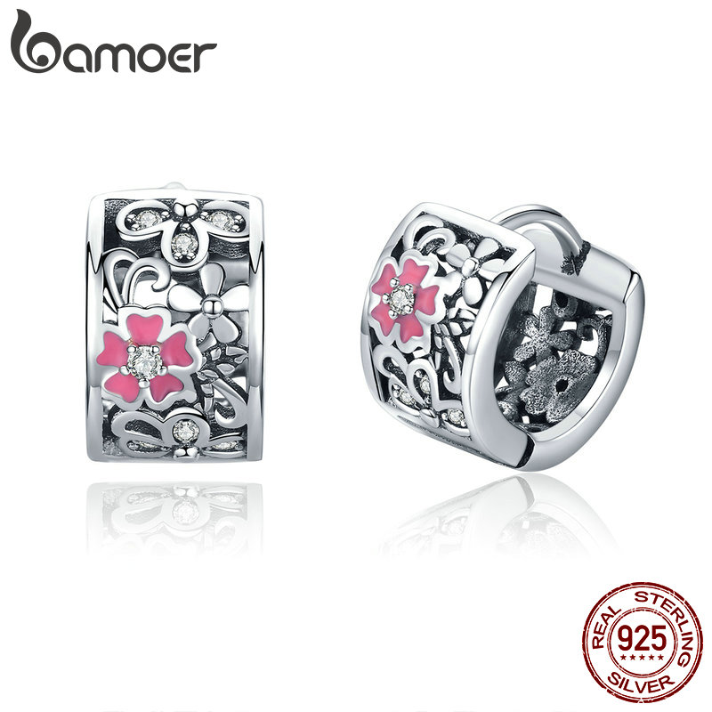 BAMOER Genuine 925 Sterling Silver Daisy Flower Exquisite Stud Earrings For Women Clear CZ Sterling Silver Jewelry SCE541