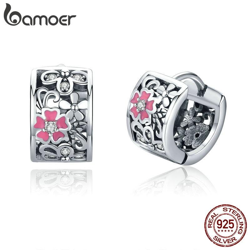BAMOER Genuine 925 Sterling Silver Daisy Flower Exquisite Stud Earrings For Women Clear CZ Sterling Silver Jewelry SCE541