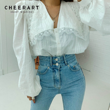 Cheerart Korean Lace Blouse Long Sleeve Ladies Top Puff Sleeve Button Up Lace Hollow Collar Shirt Autumn Women 2019