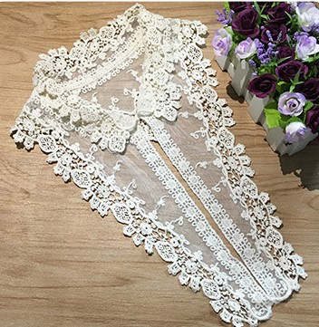 Water-soluble Pure Cotton Mesh Embroidered Collar Finished Shirt Lace Embroidered Collar Women's Fake Collar