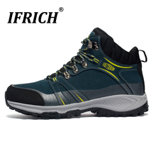 2019 Winter Men Hiking Boots Warm High Top Outdoor Mountain Climbing Shoes for Men Big Size Trekking Hunting Boots Black Blue 2017 new arrival hiking shoe for men high top hiking boots black brown mens army boots breathable trekking shoes mountain boots