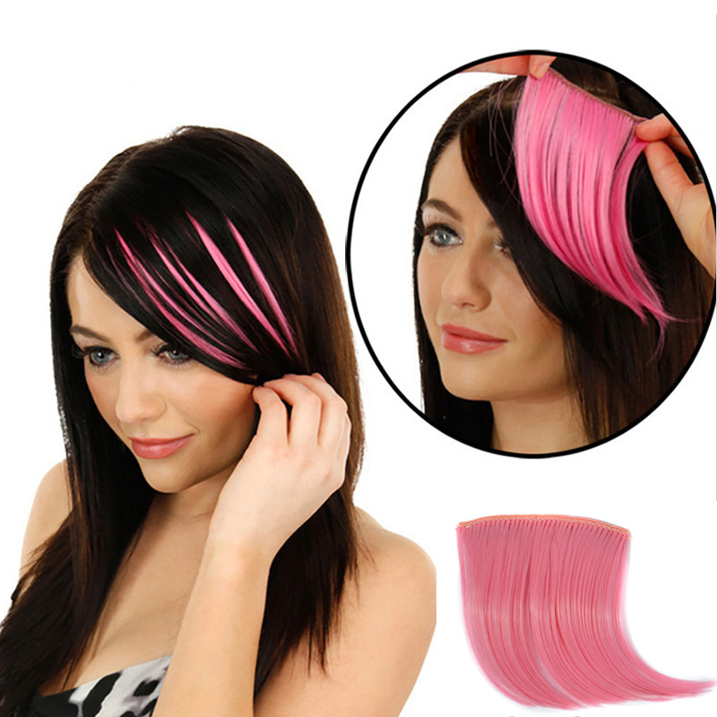 Colorful Hair Pieces Clip In on Front High Temperature Fiber Synthetic Hair Bangs Hair Extensions Hair Accessories for Women