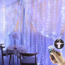 3m cortinas led luzes da corda com gancho remoto iluminao guirlanda de natal ao ar livre luzes de fadas jardim interior para o qua