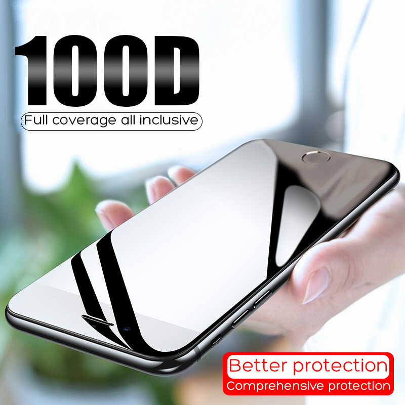 100D Protective Tempered Glass On The For iPhone 6 6s 7 8 Plus X Glass Screen Protector Soft Edge Curved For iPhone XR Xs MAX X