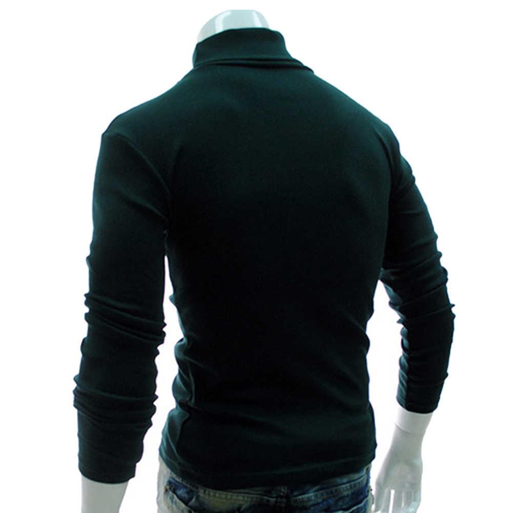 Sonbahar erkek kazak düz renk kaplumbağa boyun uzun kollu kazak ince örme kazak üst