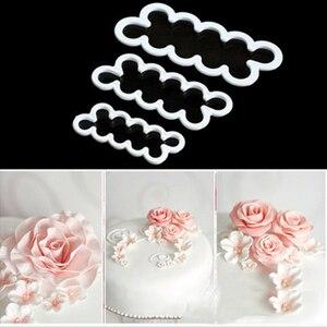3PCS/set 3D Rose Petal Flower Shaped Cutter Maker Elegant Cake Mould Fondant Cake Decorating Mould Sugar Craft Mould DIY tools