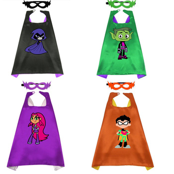 1 Set Teen Titans Figure Robin Beast Boy Starfire Raven Cosplay Cloak Toy + Mask Christmas Halloween Toys For Kids Gifts Toy