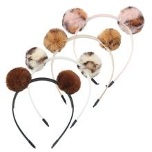 1 шт., повязка на голову для девочек, повязка на голову с медвежьими ушками, помпонами, бантиками и помпонами, леопардовым принтом, детские повязки на голову с кошачьими ушками