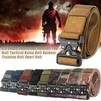 Men Adjustable Military Belt Buckle Combat Waistband Tactical Belt Nylon Outdoor Metal Buckle Police Heavy Duty Training Hunting