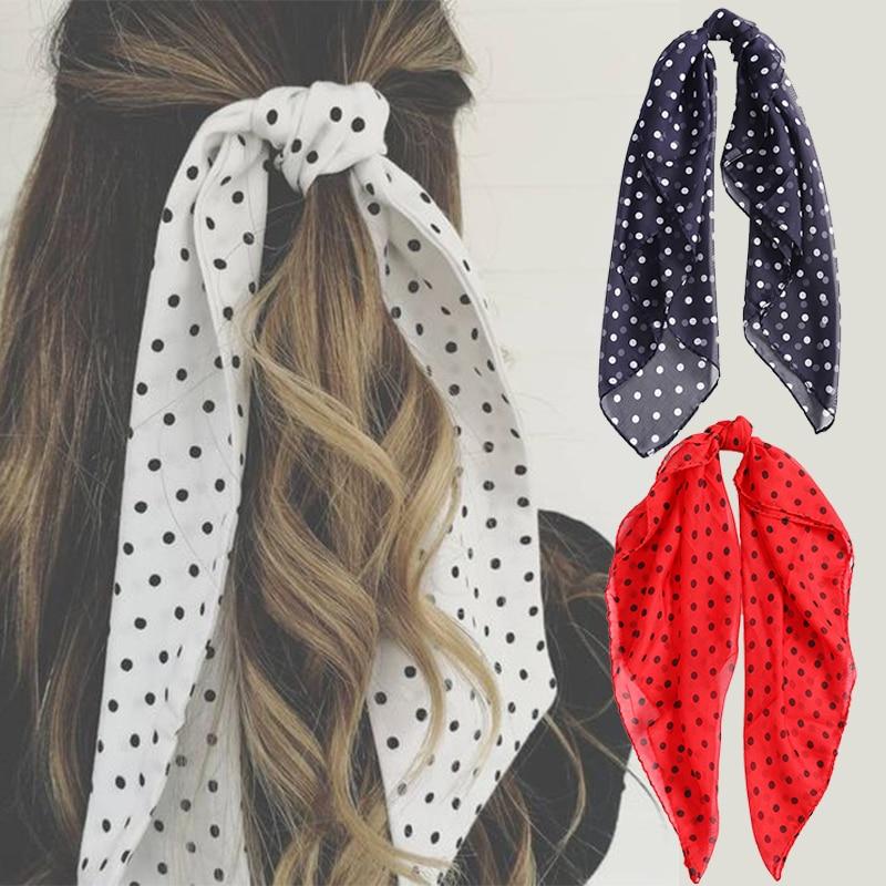 Haimeikang 70*70 Cm Square Hair Scarf Hair Tie Band Women Fashion Dot Headband Retro Head Neck Chiffon Scarf Hair Accessories