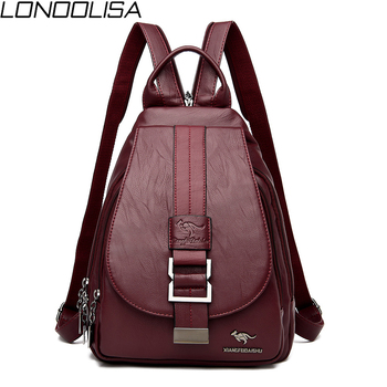 цена на New Women Belt Casual Backpack Soft Genuine Leather Backpack Fashion Kangaroo print School Bags For Teenage Girls Mochila Sac