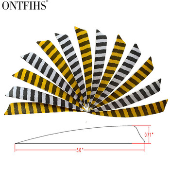 36 Pcs/Lot ONTFIHS 5 Inch Feathers Shield Cut Hunting  Arrow Vane Stripe Archery Fetches Arrow Turkey  Feathers Fetching 1