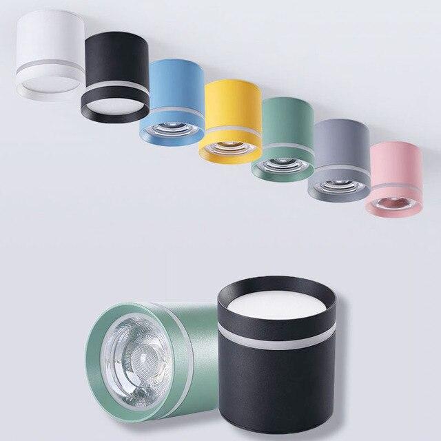 Macaroon spotlight luz de teto varanda sala estar quarto banheiro corredor pode ser escurecido lâmpada do teto downligh12w 9w 5 ac110v 220v