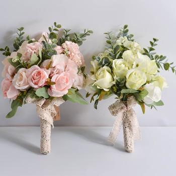 Kwiaty ślubne bukiety ślubne biały różowy jedwab poliestrowy róża sztuczny kwiat druhny bukiet akcesoria ślubne wystrój tanie i dobre opinie Poliester 35cm 25cm SH004 Bukiet ślubny 150g Polyester Silk buque de noiva White pink wedding flowers bunches for decor
